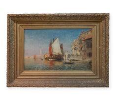 1878 Venetian Canal Painting San Marco