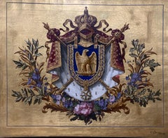 Napolean III French Coat of Arms with Gold Resin Oil Painting