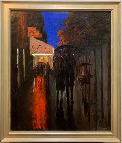 Margaret De Corini American Antique Nocturnal Parisian Street Scene Painting