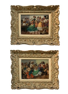A Pair of Signed Gustave Alaux Caribbean Cabaret Dancers in Bar Room Paintings