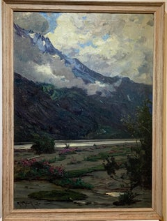 1914 American Impressionist Nocturnal Alaska Copper River Oil Painting