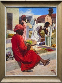 Rare Republic of Dominican Street Market Oil Painting