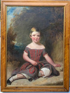 19th century English Folk Art Portrait of Young Girl in Red