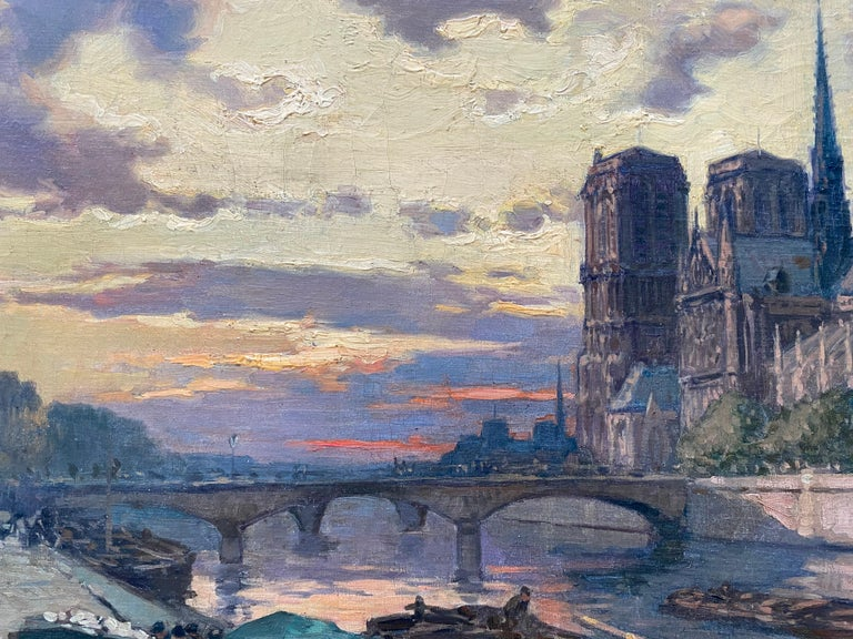 French Impressionist The Seine River Overlooking Notre Dame  For Sale 1