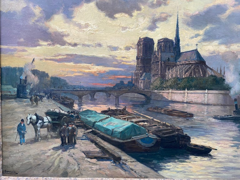 French Impressionist The Seine River Overlooking Notre Dame  - Painting by Henri Barnoin