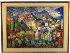 Eccentric Colorful Painting of a Town by the Mountains