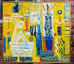 American Cubist Figurative Expressionist Nude Still Life Interior Scene
