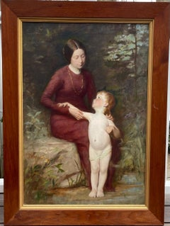 American Realist Academic Classical Painting of Sensual Mother and Nude Child