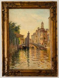 Italian Luminist Impressionist Venetian Grand Canal and Gondola Bridge Scene