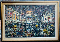 Mid-century Abstract Expressionist NYC Street Scene Times Square Scene at Night