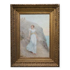 Antique French Impressionist Girl w/ White Dress