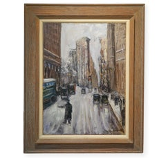1930's Wintry  American Modernist Flat Iron NYC street scene