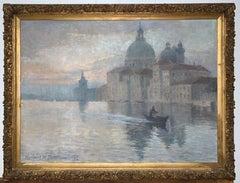 Antique American Herbert Faulkner Impressionist Painting of the Basilica