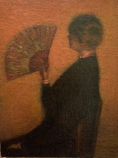American Tonalist Impressionist L'Eventail Woman Seated with a Fan