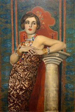 1920s Realist Portrait of HELENE SARDEAU American Art Deco Painting