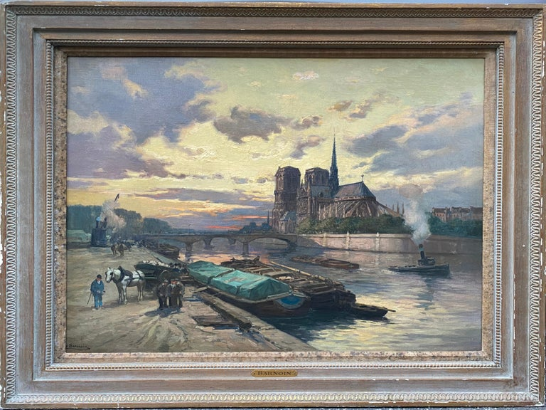 Henri Barnoin Landscape Painting - French Impressionist The Seine River Overlooking Notre Dame