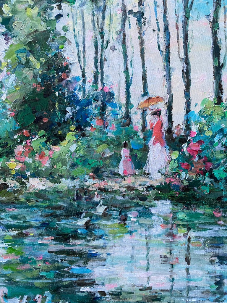 French Impressionist Lake Scene Woman w/ Parasol Landscape - Painting by Henri Dupre