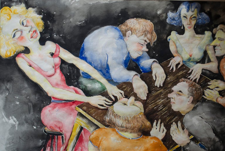 Presenting an exceptional German Expressionist painting by German artist Richard Frans Kollorsz.  The Spiritualists, is an original watercolor on paper, signed, dated 1933, with an image dimension of 14.25 x 21.5 Inches, excellent original
