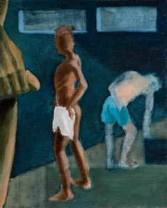 """Locker Room"" figurative nude, oil on canvas by contemporary painter Nils Benson"