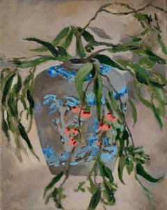 Corymbia ficifolia in Chinese vase, oil on canvas by painter Nils Benson