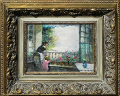 """""""On the Balcony"""", Jules Herve, Oil on Canvas, French Impressionism, Miniature"""