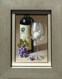 """Raise Your Glass"", Javier Mulio, Oil on Board, Realistic Still Life with Wine"