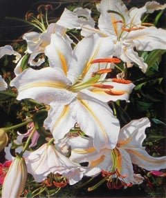 """White Lilies"", Oleg Turchin, Oil on Canvas, 30"" x 24"", Photorealism Painting"