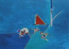 """Blue 32"", Michael Mentler, Oil on Canvas, Contemporary, Modern, Geometric Art"