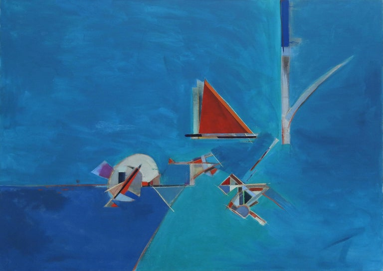 """Blue 32"", Michael Mentler, Oil on Canvas, Contemporary, Modern, Geometric Art - Painting by Michael Mentler"