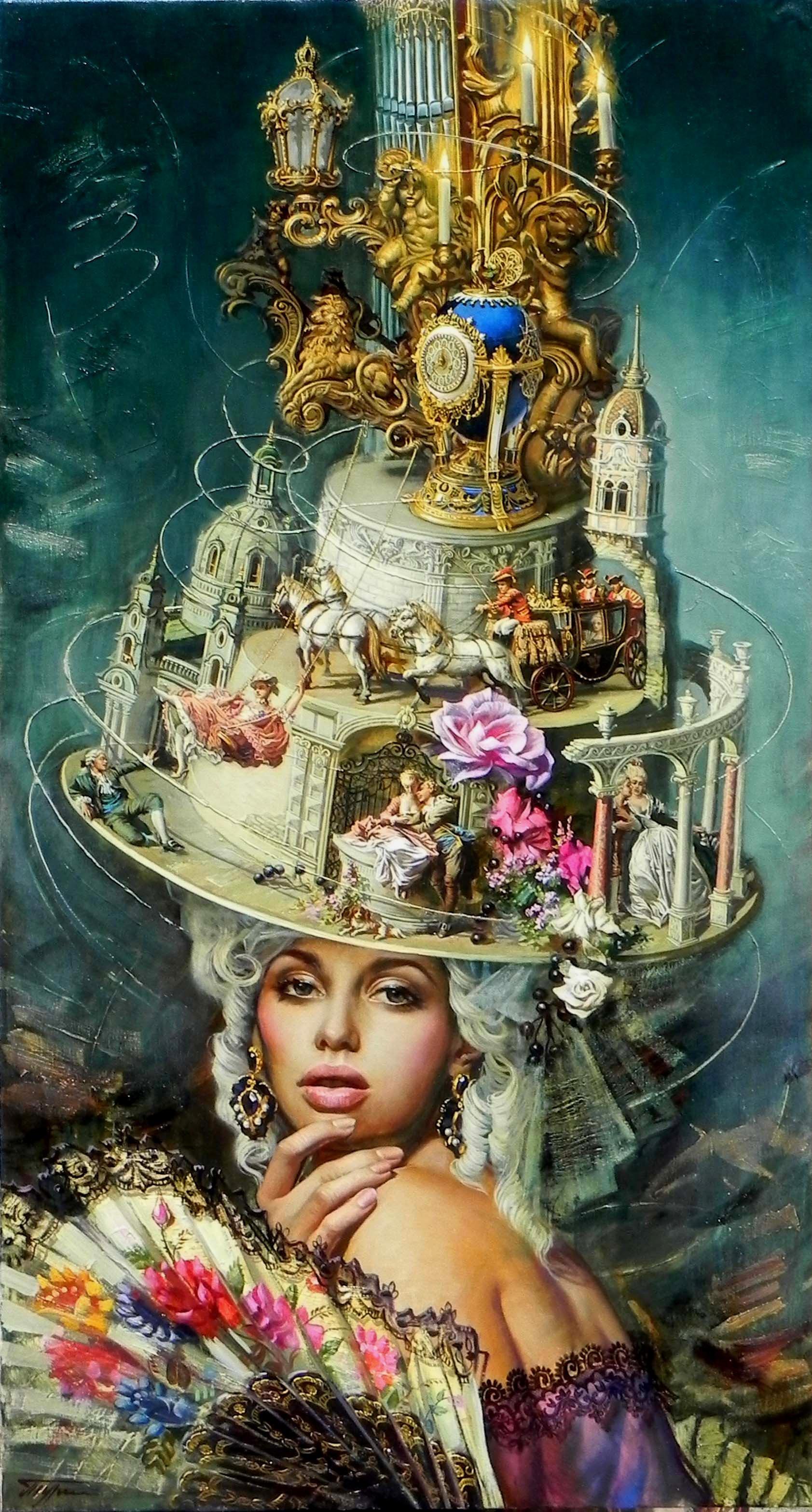 """Era of Elegance"", Oleg Turchin, Surrealism, Sophisticated, Elaborate, Hat"