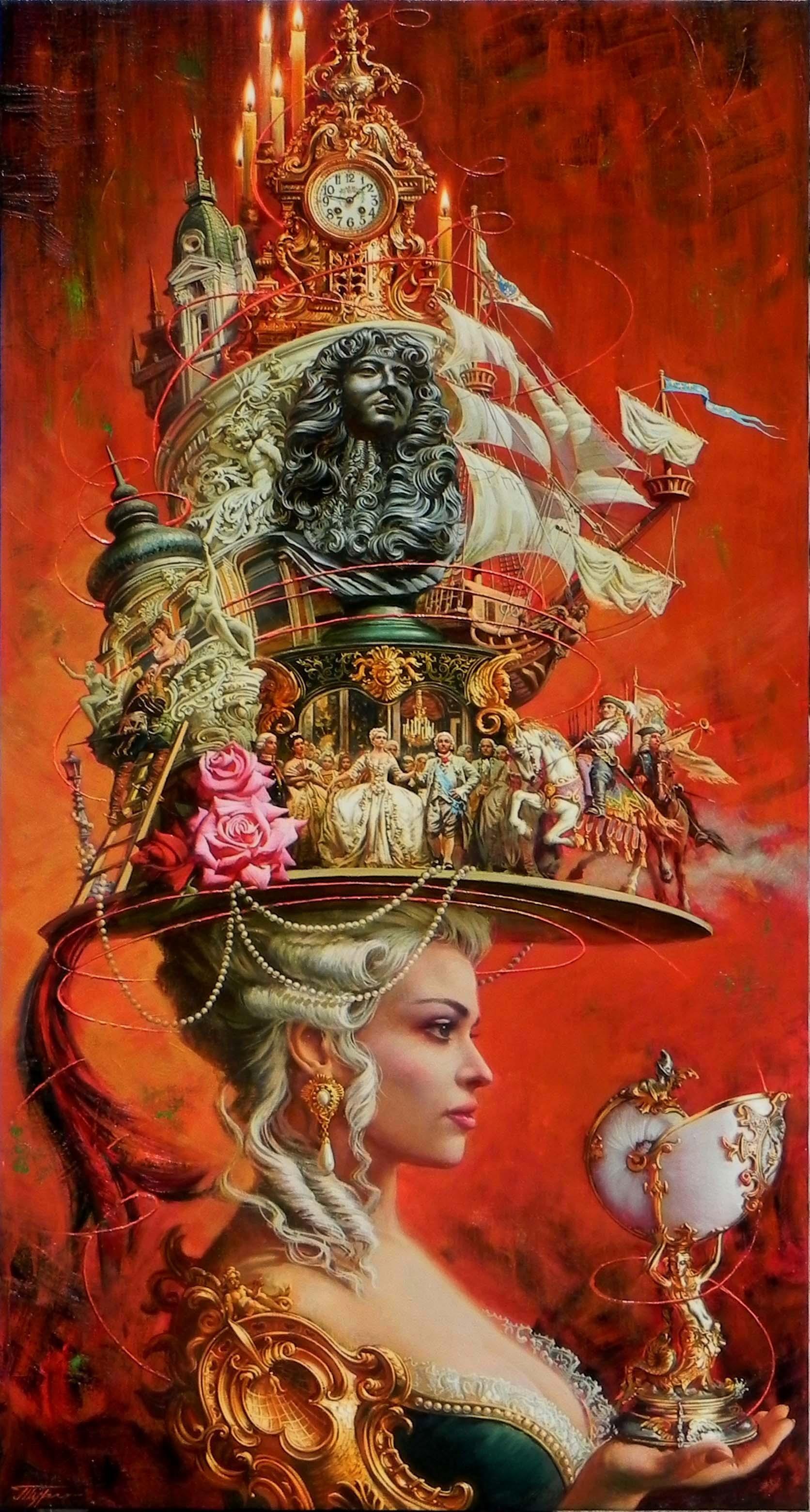 """Alluring Times"", Oleg Turchin, Surrealism, Sophisticated, Elaborate, Hat"