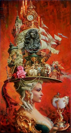 """Alluring Times"", Oleg Turchin, Surrealism, Sophisticated, Elaborate, Hat"