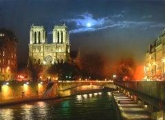 """Notre Dame de Paris at Night"", Sorin, Photorealism, French, Landscape"