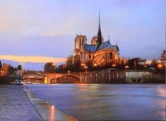 """""""Notre Dame de Paris"""", Sorin, Photorealism, Oil on Canvas, French, Landscape"""