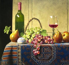 """""""Wine with Grapes and Pears"""", Mark Pettit, Oil on Canvas, Realism, Still Life"""
