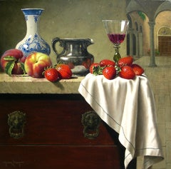 """Silver and Delft"", Mark Pettit, Oil on Canvas, 20x20, Realism, Still-life"