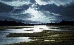 """Moontide"", Alexander Volkov, 24x48, Oil on Canvas, Photorealism, Landscape"