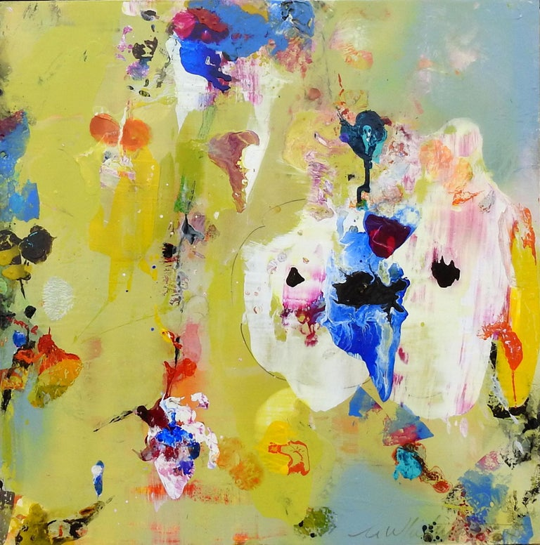 """""""Divine Garden Series #285,"""" Mark Whitmarsh, Contemporary Yellow Flowers, 24x24 - Painting by Mark Whitmarsh"""