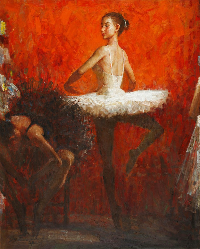 """""""After Class"""", Zhiwei Tu, Impressionistic, Figurative, 60x48, Oil on Canvas, Red - Painting by Zhiwei Tu"""