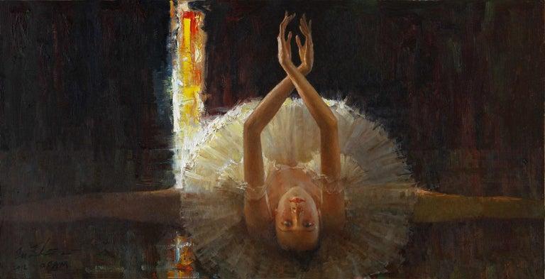 """Light on Dancer"", Zhiwei Tu, Impressionism, Figurative, 24x48 in, Oil on Canvas - Painting by Zhiwei Tu"