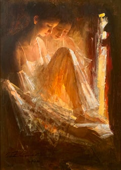 """Reading"", Zhiwei Tu, Impressionism, Figurative, 36x24, Oil on Canvas, Ballerina"