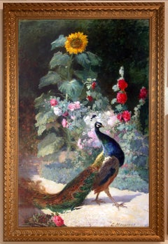 """Peacock"", Charles Monginot, French Impressionist, 79x49 in., Oil on Canvas"