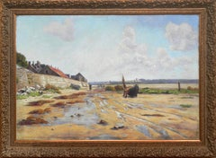 """Maree Basse"", Ernest Le Vilain, 47x70 in., Original, French Impressionist, Oil"