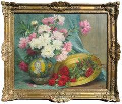 """""""Bouquet de Fleurs"""", Desire Alfred Magne, Antique Still Life, Original Oil"""