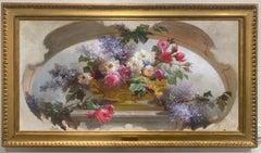 """Flowers in a Gilt Vase"", Eugene Bidau, Antique still life, original oil, 25x51"