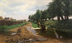 """Cattle Watering in a Summer Landscape"", Eduard Spoerer, Original, Antique, Oil"