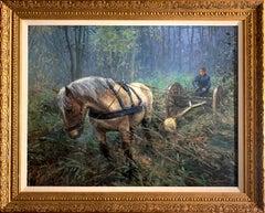 """Log Hauler"", Henni de Korte, 31x40 in., Oil on Canvas, Classical Impressionism"