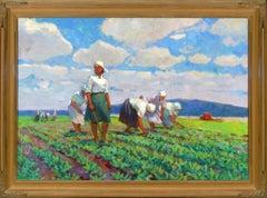 """Weeding"", Evgeniya Ovsyannikova, Original Oil, 54x77, Russian Impressionism"