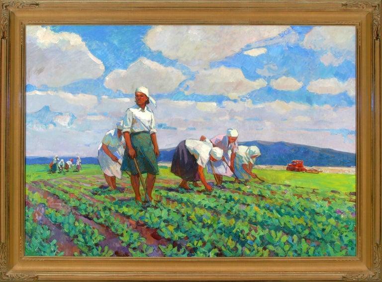 """""""Weeding"""", Evgeniya Ovsyannikova, Original Oil, 54x77, Russian Impressionism - Painting by Evgeniya Ovsyannikova"""