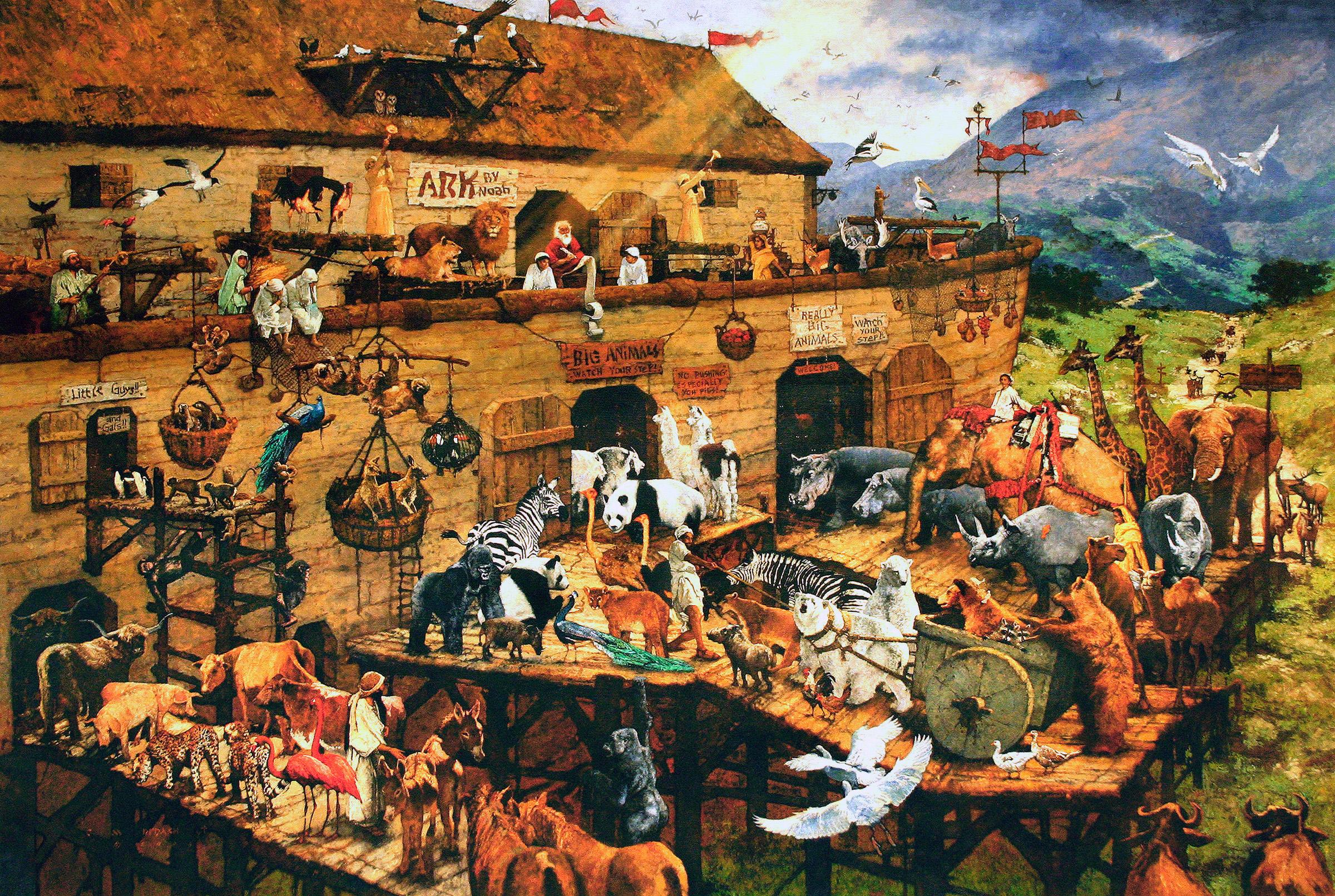 """It's a Zoo in There"", C. Michael Dudash, Original Oil on Canvas of Noah's Ark"